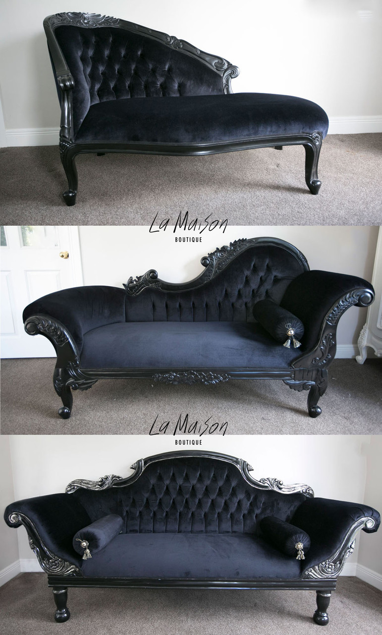 Pre order flower carved chaise longue black la maison - La chaise longue nantes ...