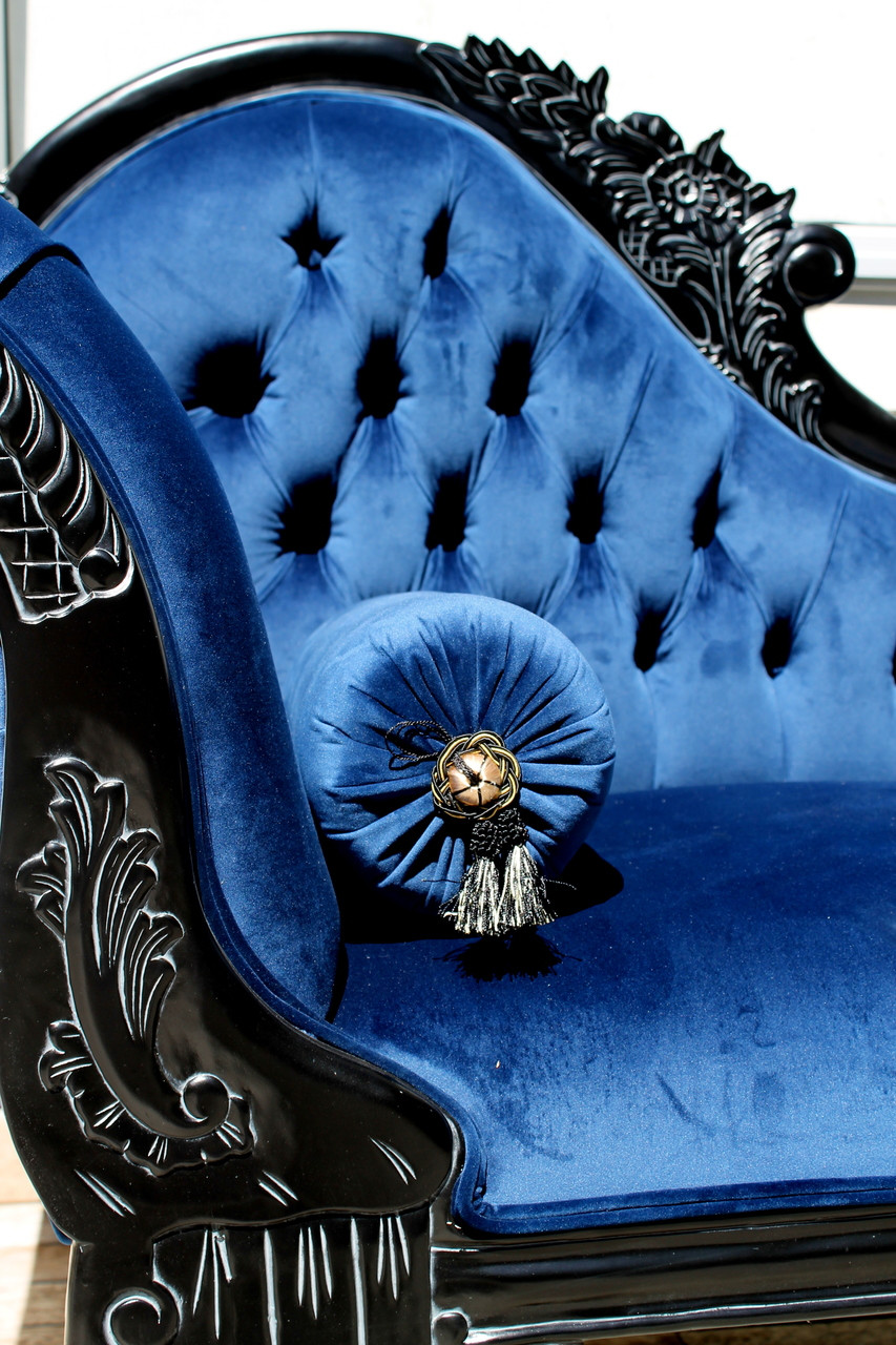 pre order flower carved chaise longue galaxy blue la. Black Bedroom Furniture Sets. Home Design Ideas