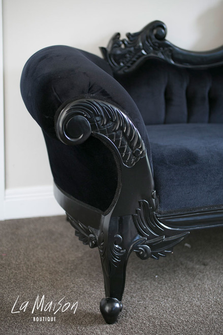 pre order flower carved chaise longue black la maison boutique