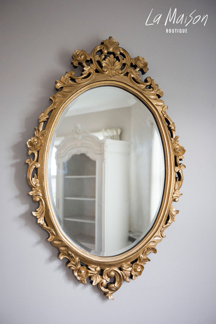 IN STOCK NOW: Oval carved Mirror - gold