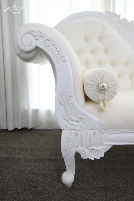 PRE ORDER: Flower Carved Chaise Longue - white