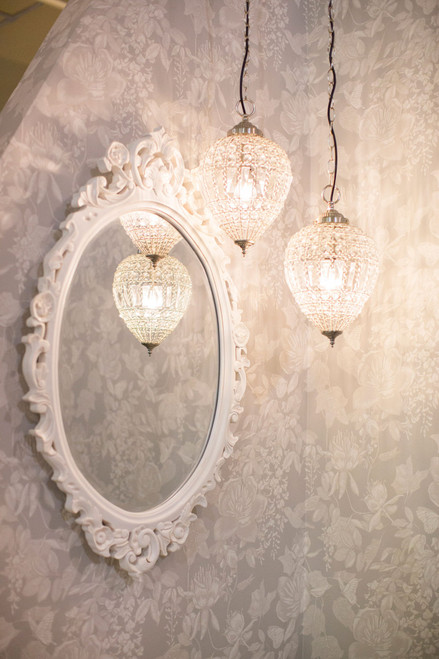 IN STOCK NOW: Oval carved Mirror - antique white