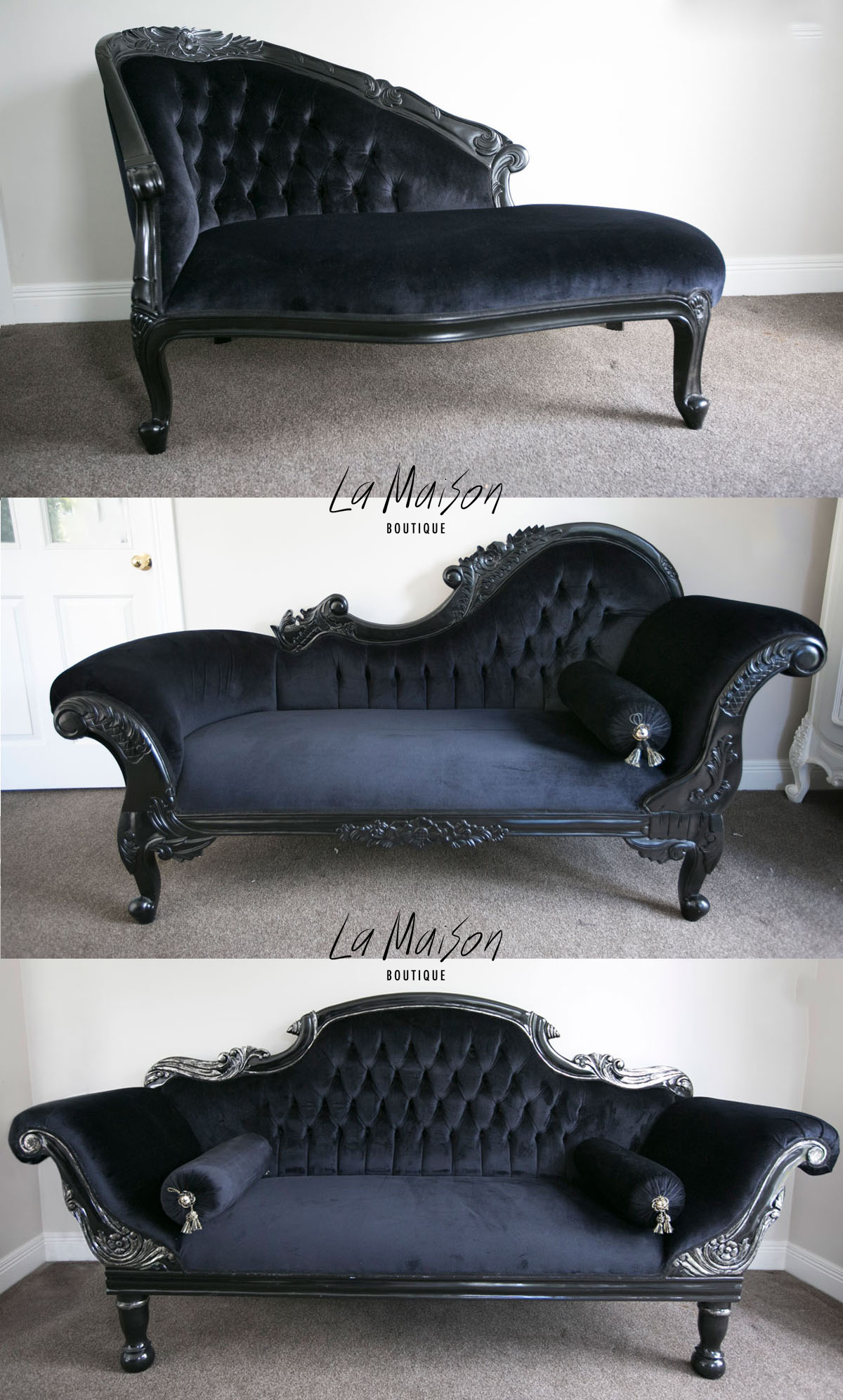 How to style a chaise longue la maison boutique for Black chaise lounge sofa