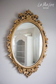 PRE ORDER: Oval carved Mirror - gold