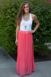 Spotlight Pleated Maxi Skirt - Coral