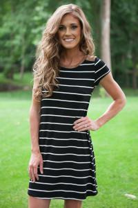 New Love Short Sleeve Striped Dress - Black/White
