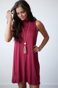 Elastic Heart Mock Neck Sleeveless Dress - Wine