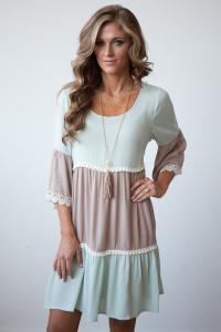 Tiered Colorblock Long Sleeve Dress - Mint/Mocha