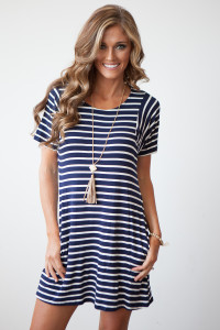 Steal The Show Pocket Striped Swing Dress - Navy/White