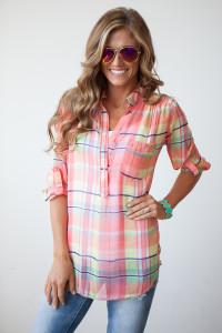 Savannah Bound Plaid Chiffon Blouse - Pink/Multi