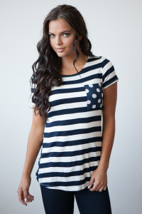 Double Trouble Stripes & Dots Pocket Tee - Black/Navy/White