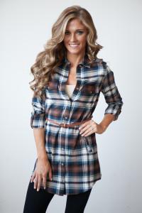 Nashville Belted Flannel Plaid Shirt Dress - Navy/Brown/White