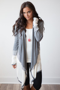 Stripe Colorblock Waterfall Cardigan - Grey/Off White