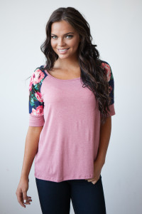 Stop And Smell The Roses Floral 1/2 Sleeve Solid Tee - Pink/Navy