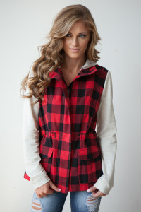 Plaid Hooded Jacket - Red/Off White