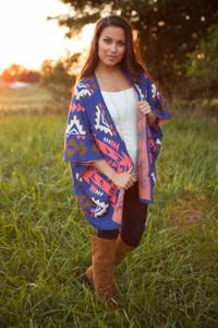 Tribal Sweater Kimono - Blue/Coral