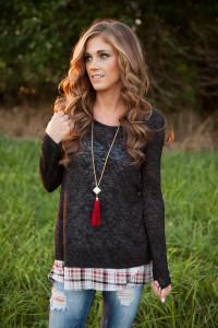 Plaid Layered Split Back Tunic - Heather Charcoal
