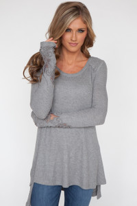 Embroidered Lace Sleeve Thermal Tunic - Grey