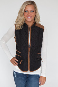 New Hampshire Quilted Vest - Black/Tan