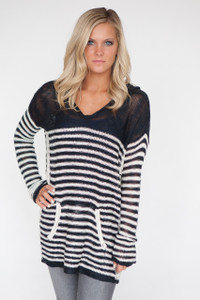 Striped Pullover Knit Hoodie Tunic - Navy/Ivory