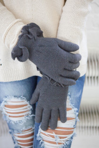 Ruffle Cuff Gloves - Charcoal