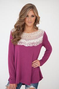Long Sleeve Crochet Yoke Top - Magenta