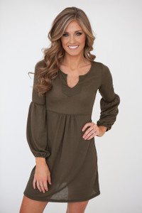 Laura Long Sleeve Dress - Olive