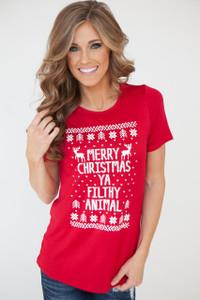Merry Christmas Ya Filthy Animal Tee - Red
