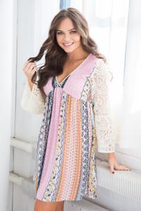 Lace Sleeve Print Dress - Pink/Multi