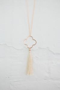 Quatrefoil Tassel Necklace - Ivory
