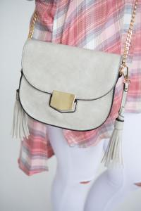 Faux Leather Tassel Detail Crossbody - Light Grey