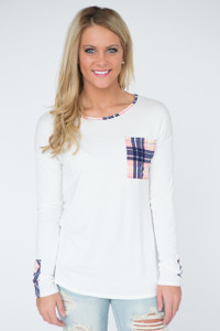 Long Sleeve Plaid Detail Top - Pink/Ivory