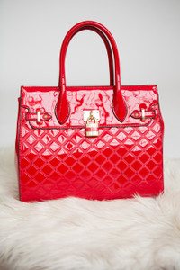 Faux Leather Structured Tote Handbag - Red