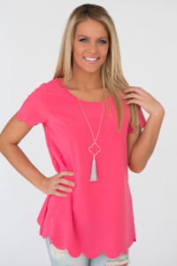 Short Sleeve Scallop Edge Woven Top - Coral Pink