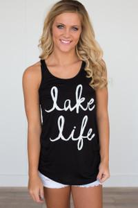 Lake Life Graphic Tank - Black