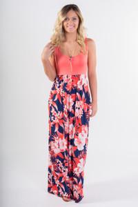 Floral Skirt Maxi Tank Dress - Orange/Navy