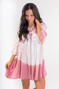 Tie Dye Boho Summer Dress - Pink