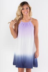 Ombre High Neck Dress- Purple/Navy