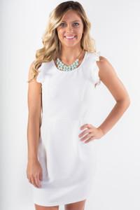 Ruffle Sleeve Textured Dress - White