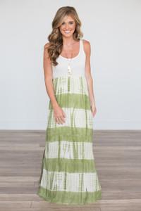 Tie Dye Maxi Dress - Olive