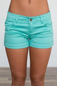 Solid Cuffed Shorts - Green