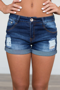 Distressed Cuffed Denim Shorts - Dark Wash