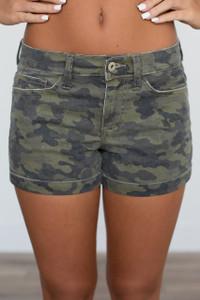 Camouflage Cuffed Shorts - Green