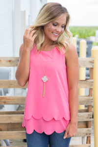 Double Layered Scallop Trim Tank - Pink