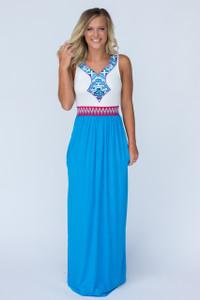 Tribal Inspired Maxi Dress - Azure