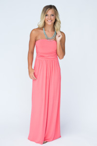 Strapless Maxi Dress - Coral