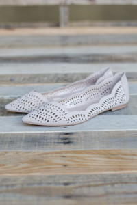 Cutout Pointed Toe Ballet Flats - Nude