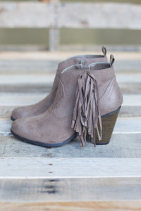 Fringe Fanatic Suede Bootie - Taupe