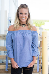 Off the Shoulder Top - Chambray