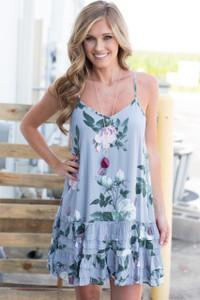 Sleeveless Floral Dress - Light Grey